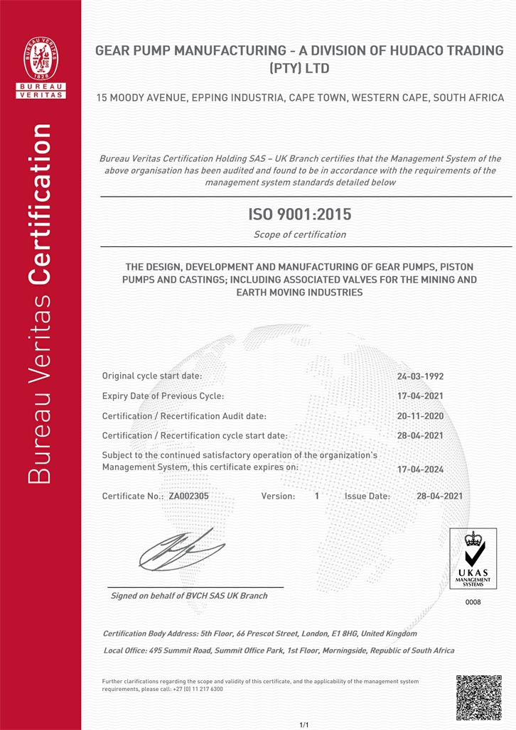 Gear Pump Manufacturing ISO 9001:2015 Certificate